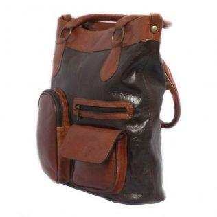 Bolso de mano, piel 100%, café y marrón. London Time.