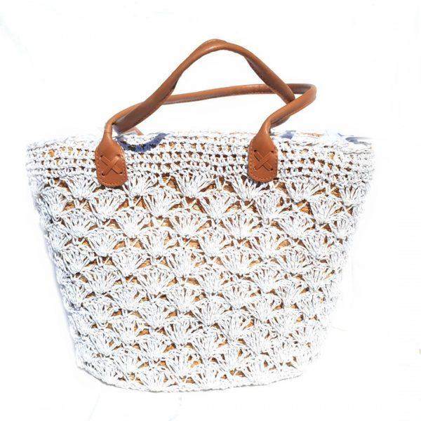 Bolso blanco tipo cesta verano
